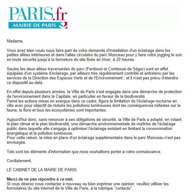 Réponse mairie de Paris